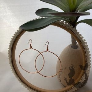 Hammered Copper Wire Hoops
